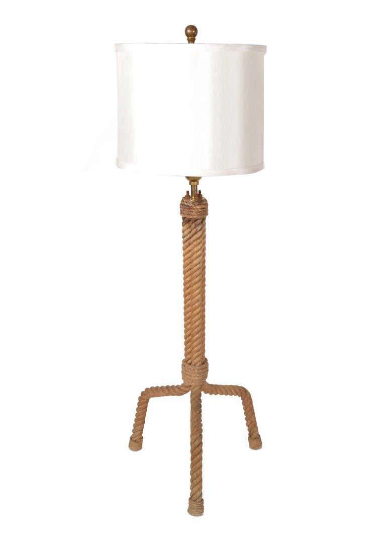 French Mid-Century Modern Audoux Minet Rope Table Lamp For Sale 6