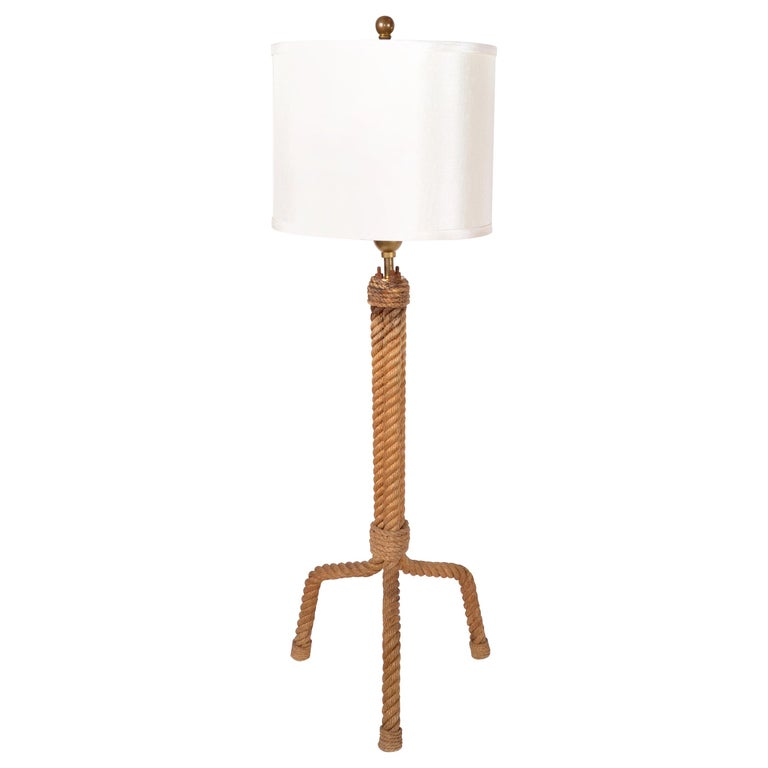 French Mid-Century Modern Audoux Minet Rope Table Lamp For Sale