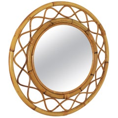 French Mid-Century Modern Bamboo and Rattan Round Wall Mirror