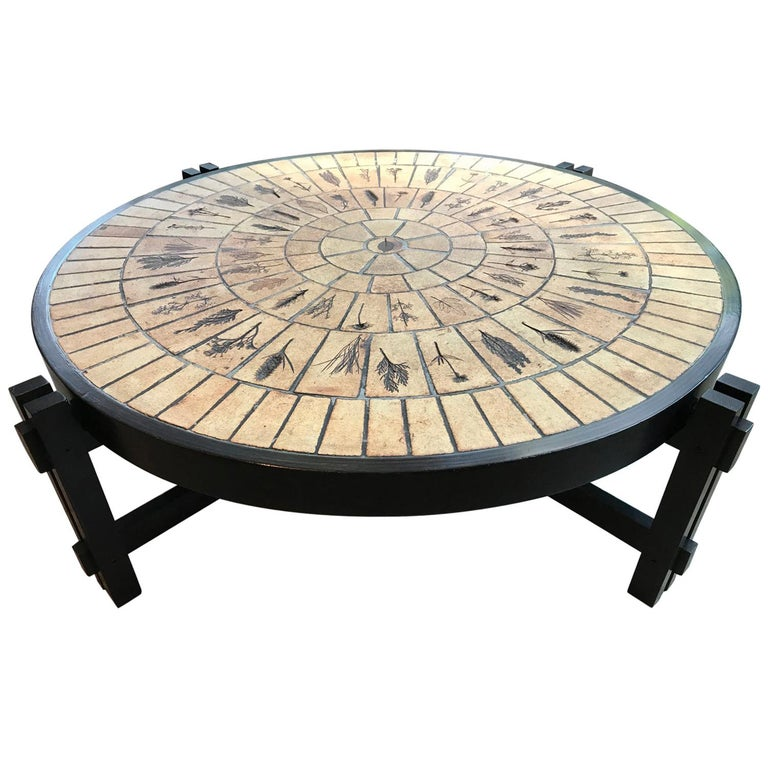French Mid-Century Modern Big Ceramic Coffee Table, By