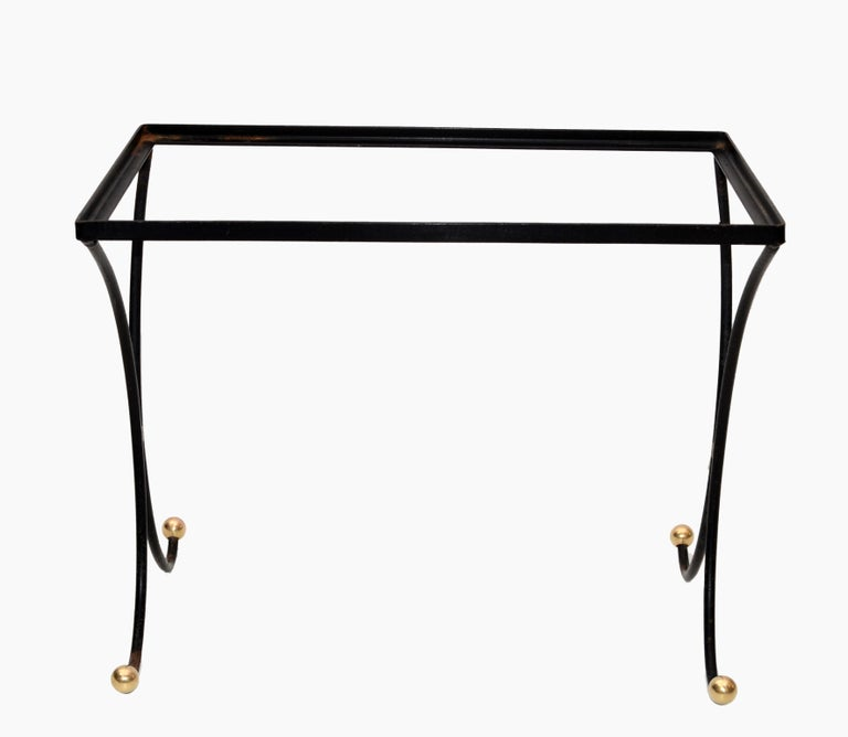 French Mid-Century Modern Black Wrought Iron & Brass Side Table Black Glass Top For Sale 5