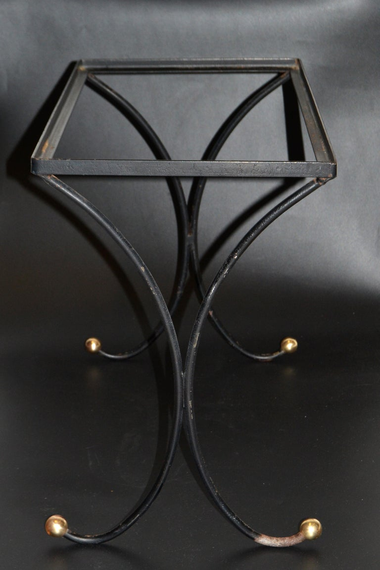 French Mid-Century Modern Black Wrought Iron & Brass Side Table Black Glass Top For Sale 7