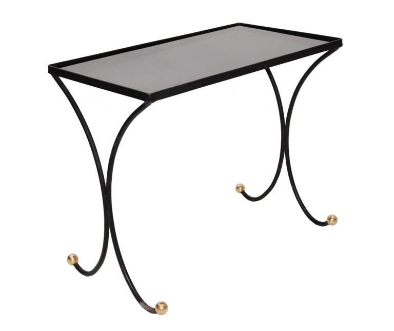 French Mid-Century Modern Black Wrought Iron & Brass Side Table Black Glass Top For Sale 8