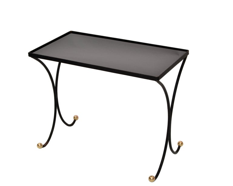 French Mid-Century Modern Black Wrought Iron & Brass Side Table Black Glass Top In Good Condition For Sale In Miami, FL