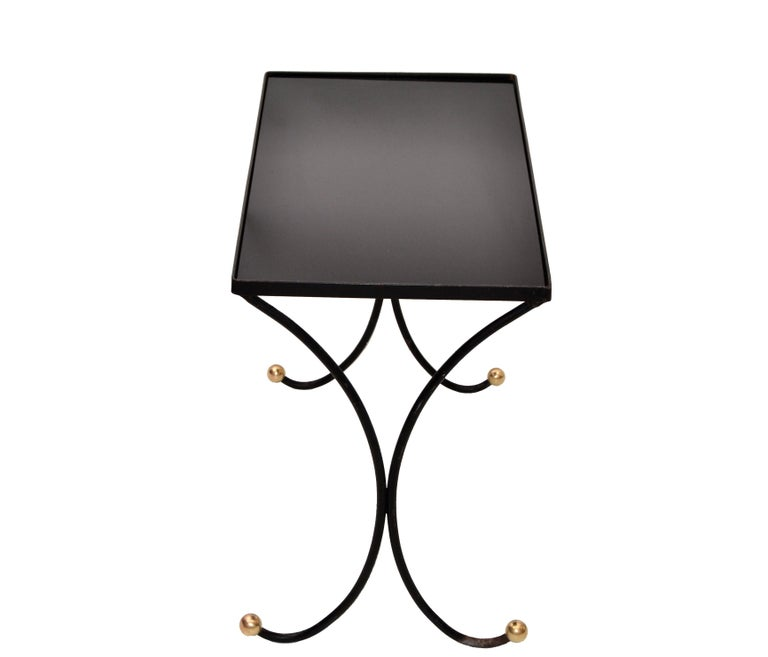 Mid-20th Century French Mid-Century Modern Black Wrought Iron & Brass Side Table Black Glass Top For Sale