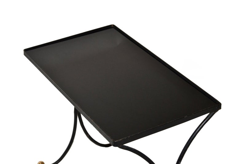 French Mid-Century Modern Black Wrought Iron & Brass Side Table Black Glass Top For Sale 2