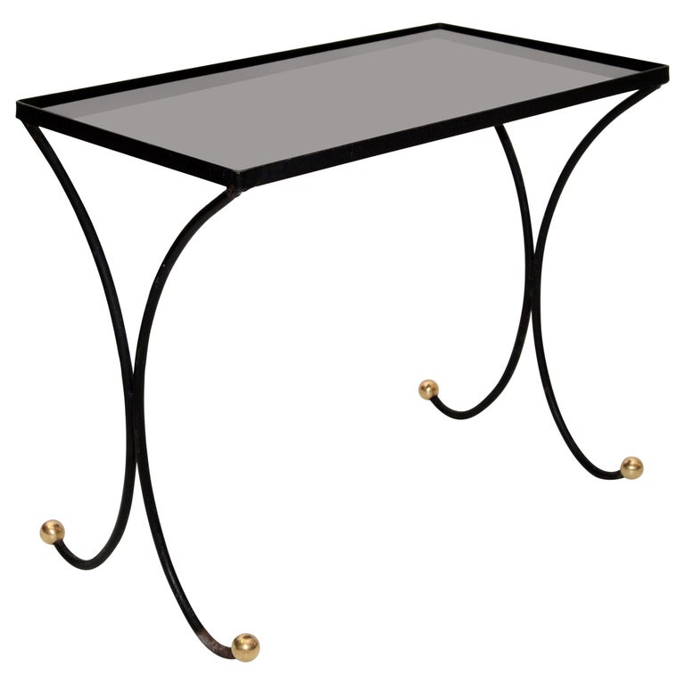 French Mid-Century Modern Black Wrought Iron & Brass Side Table Black Glass Top For Sale