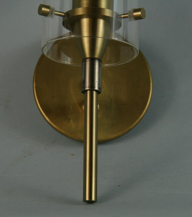 Mid-20th Century French Mid-Century Modern Brass and Glass Hurricane Sconces For Sale