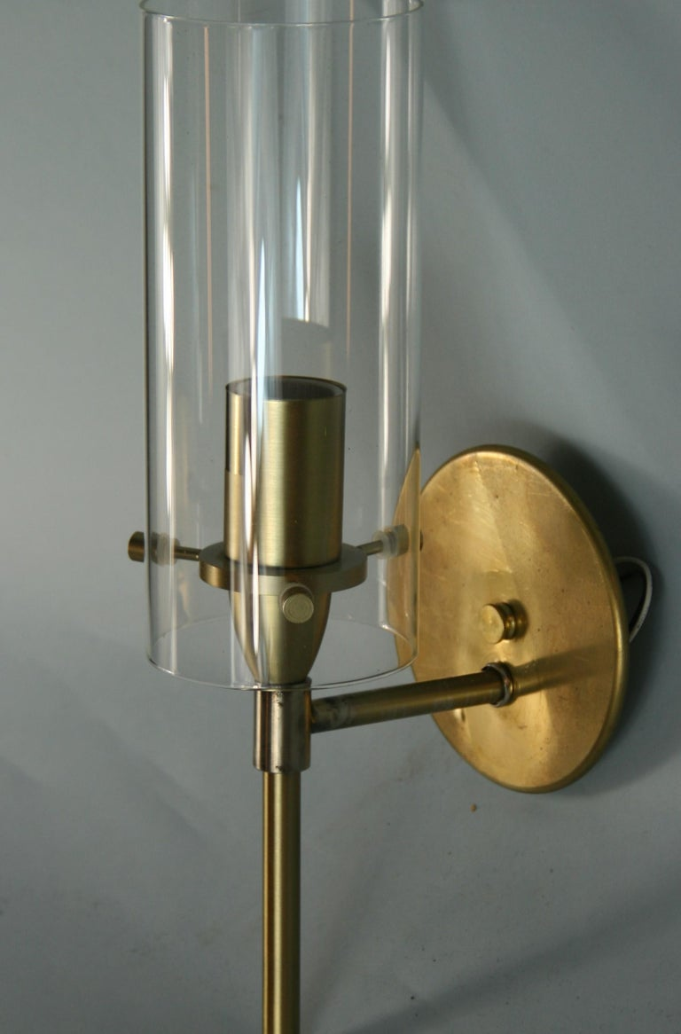 French Mid-Century Modern Brass and Glass Hurricane Sconces For Sale 1