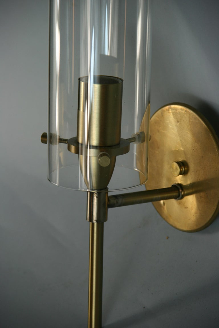 French Mid-Century Modern Brass and Glass Hurricane Sconces For Sale 2