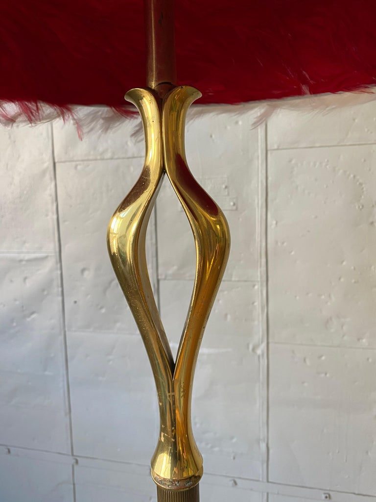 French Mid-Century Modern Brass Floor Lamp on a Tripod Base For Sale 7