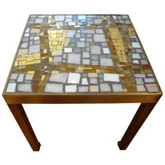 French Mid-Century Modern Brass Table with a Glass Mosaic Tile-Top