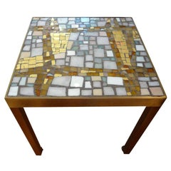 French Mid-Century Modern Brass Table with a Glass Mosaic Tile Top