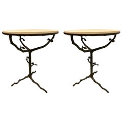 French Mid-Century Modern Bronze and Limestone End/Side Tables Giacometti, Pair