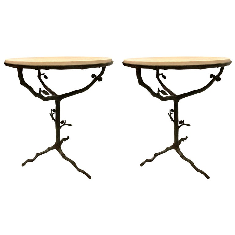 French Mid-Century Modern Bronze and Limestone End/Side Tables Giacometti, Pair For Sale