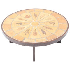 French Mid-Century Modern Ceramic Oval Coffee Table by Roger Capron, 1970s