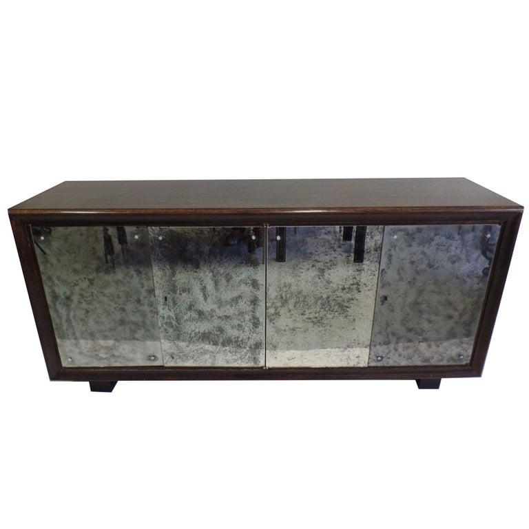 French Mid-Century Modern Cerused Oak & Mirrored Sideboard, Eugene Printz For Sale