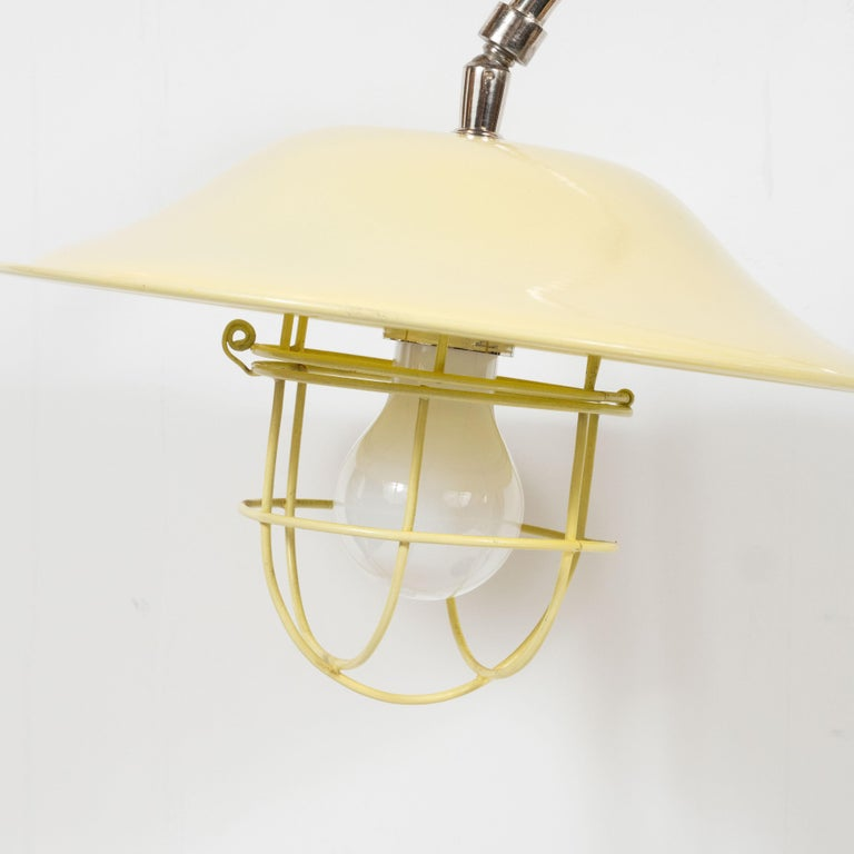 French Mid-Century Modern Chrome and Lemon Cream and Black Enamel Table Lamp For Sale 6