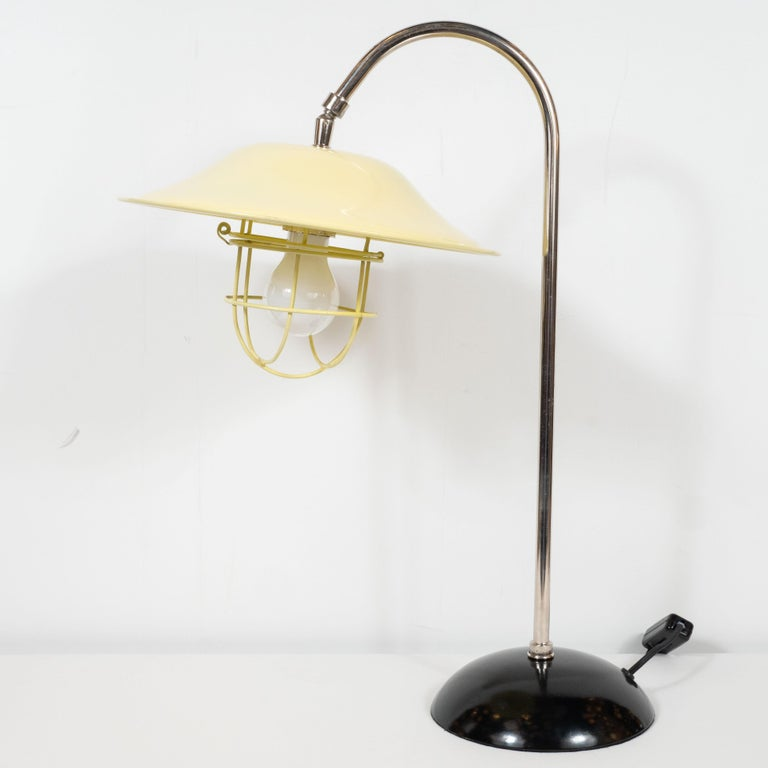 French Mid-Century Modern Chrome and Lemon Cream and Black Enamel Table Lamp For Sale 5