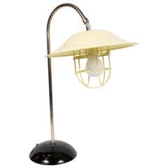 French Mid-Century Modern Chrome and Lemon Cream and Black Enamel Table Lamp