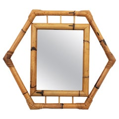 French Mid-Century Modern Colonial Bamboo Hexagonal Mirror with Smoked Glass