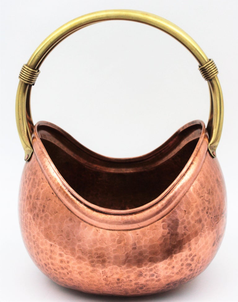20th Century French Mid-Century Modern Copper and Brass Basket Log Holder with Rope Detail For Sale