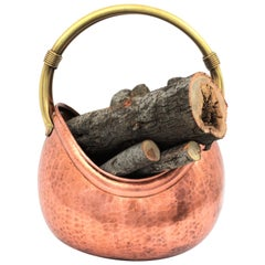 French Mid-Century Modern Copper and Brass Basket Log Holder with Rope Detail