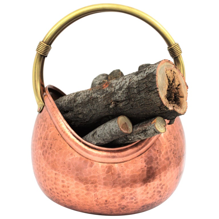French Mid-Century Modern Copper and Brass Basket Log Holder with Rope Detail For Sale