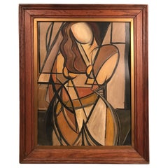 French Mid-Century Modern Cubist Portrait of Woman Painting