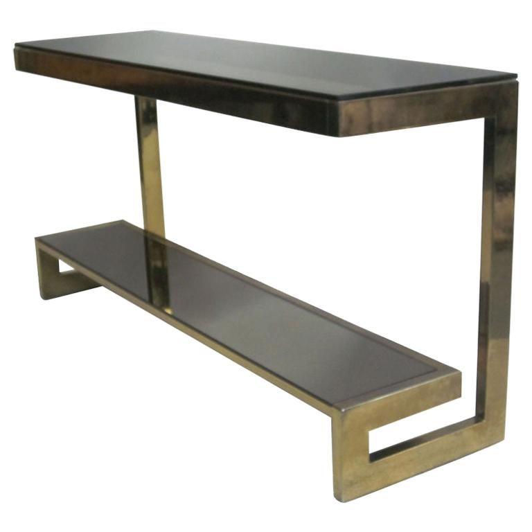 Brilliant French Mid Century Modern Double Level Brass Console Sofa Table Maison Jansen Creativecarmelina Interior Chair Design Creativecarmelinacom