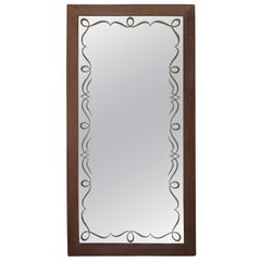 French Mid-Century Modern Etched Glass Mirror