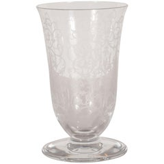 French Mid-Century Modern Foliate Etched Crystal Vase by Baccarat