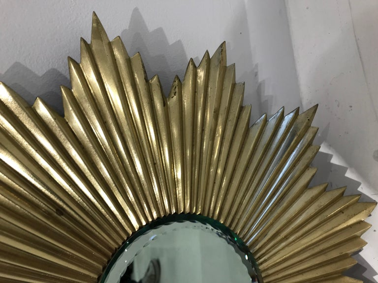 French Mid-Century Modern Gilt Bronze Sunburst Mirror For Sale 1