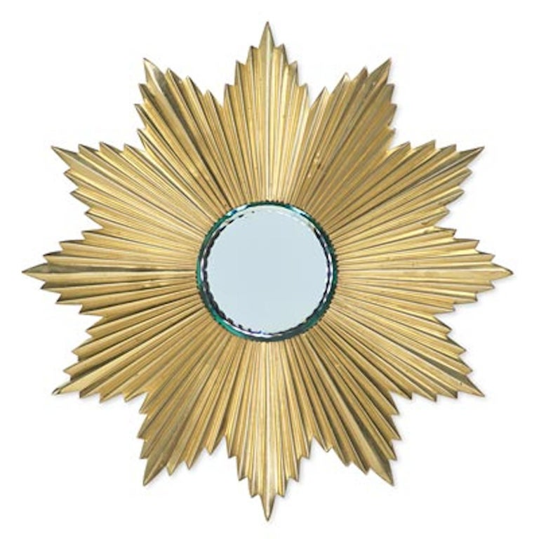 French Mid-Century Modern Gilt Bronze Sunburst Mirror For Sale 3