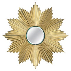 French Mid-Century Modern Gilt Bronze Sunburst Mirror