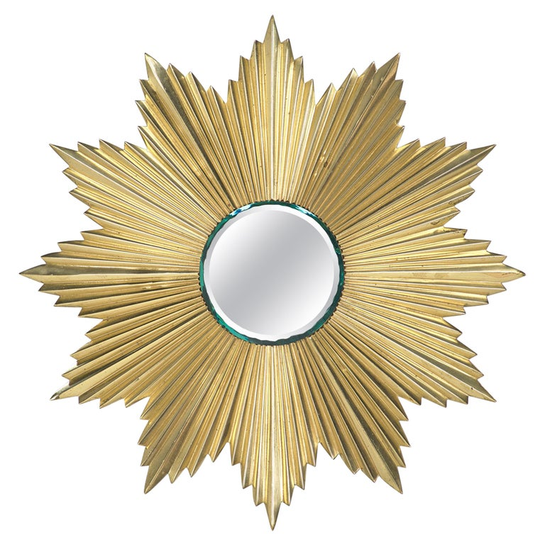 French Mid-Century Modern Gilt Bronze Sunburst Mirror For Sale