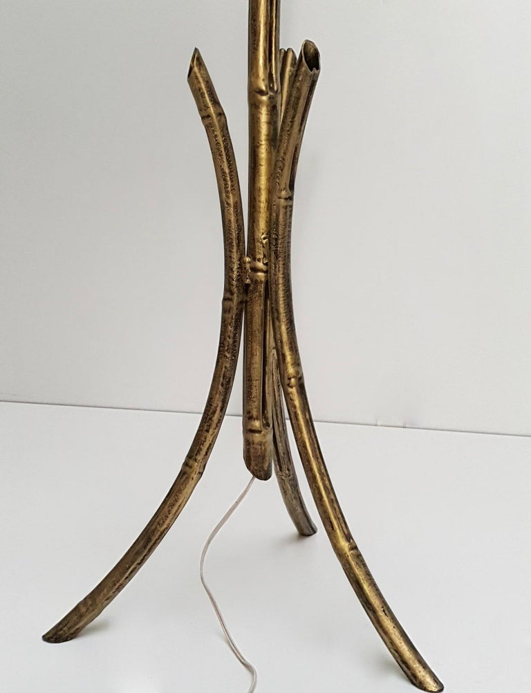 20th Century French Mid-Century Modern Gilt Iron Faux Bamboo Floor Lamp For Sale