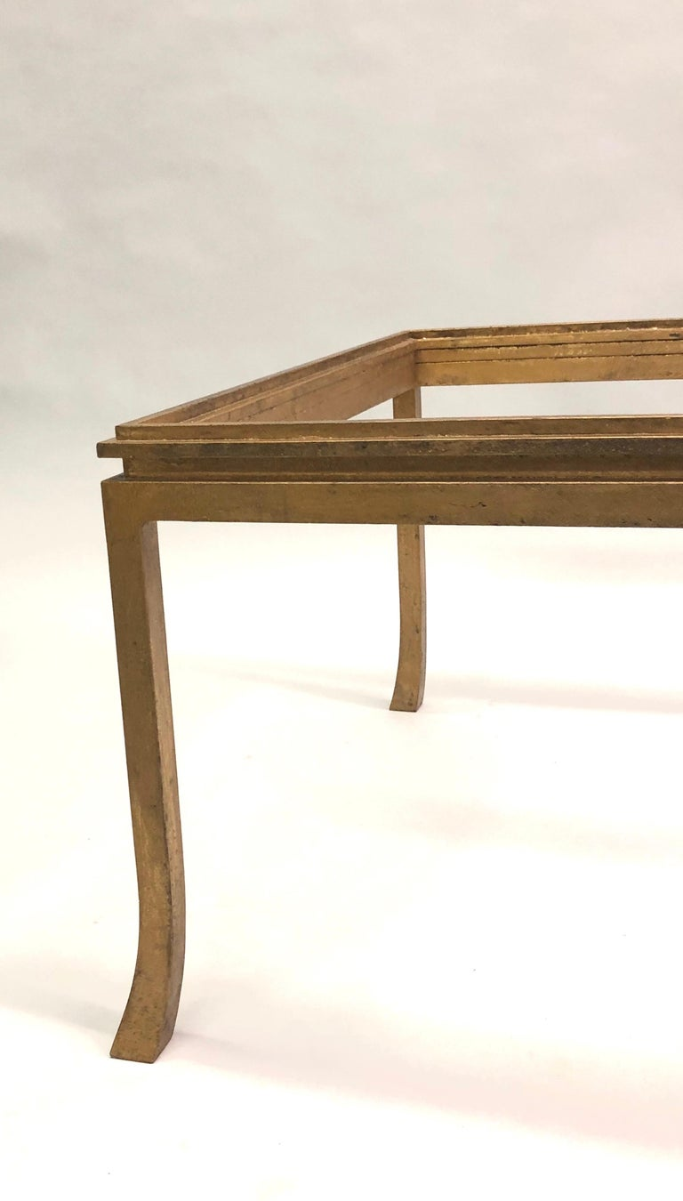 French Mid-Century Modern Gilt Wrought Iron Coffee Table by Maison Ramsay, 1970 For Sale 1