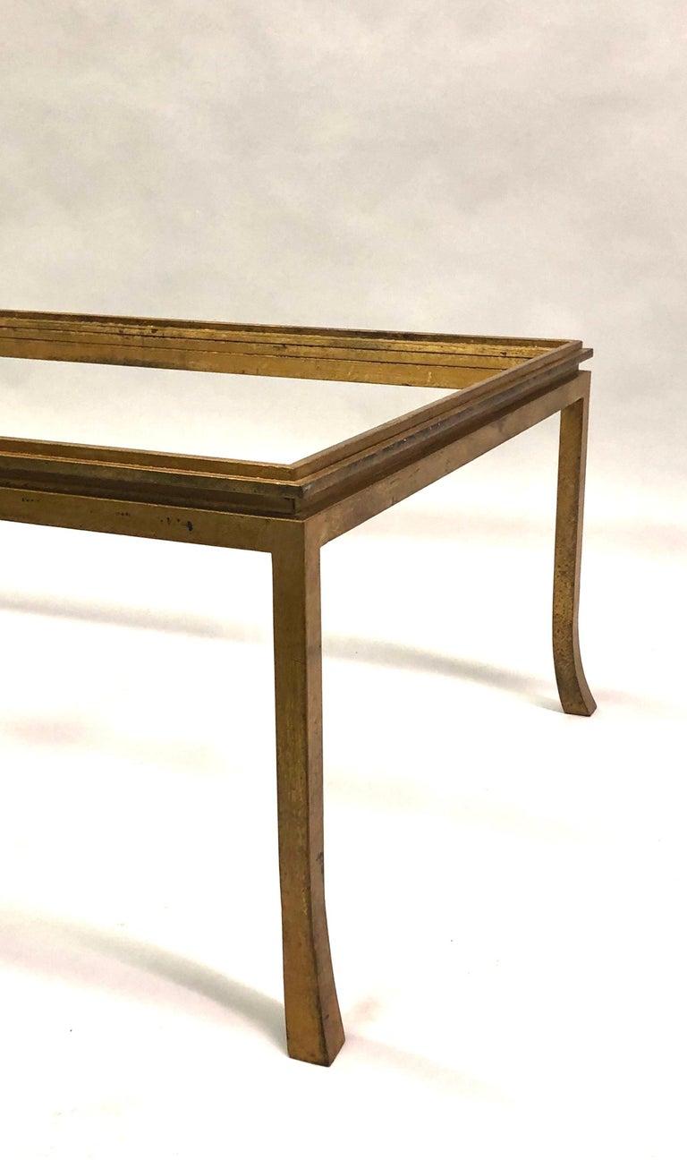 French Mid-Century Modern Gilt Wrought Iron Coffee Table by Maison Ramsay, 1970 For Sale 2