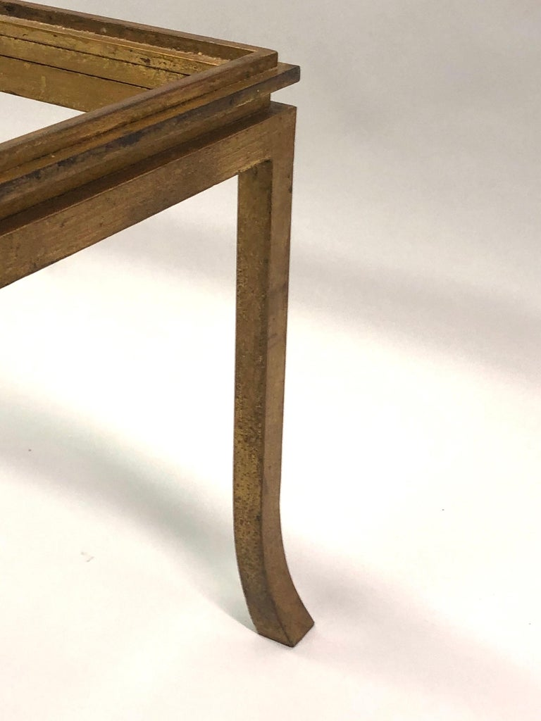 French Mid-Century Modern Gilt Wrought Iron Coffee Table by Maison Ramsay, 1970 For Sale 4