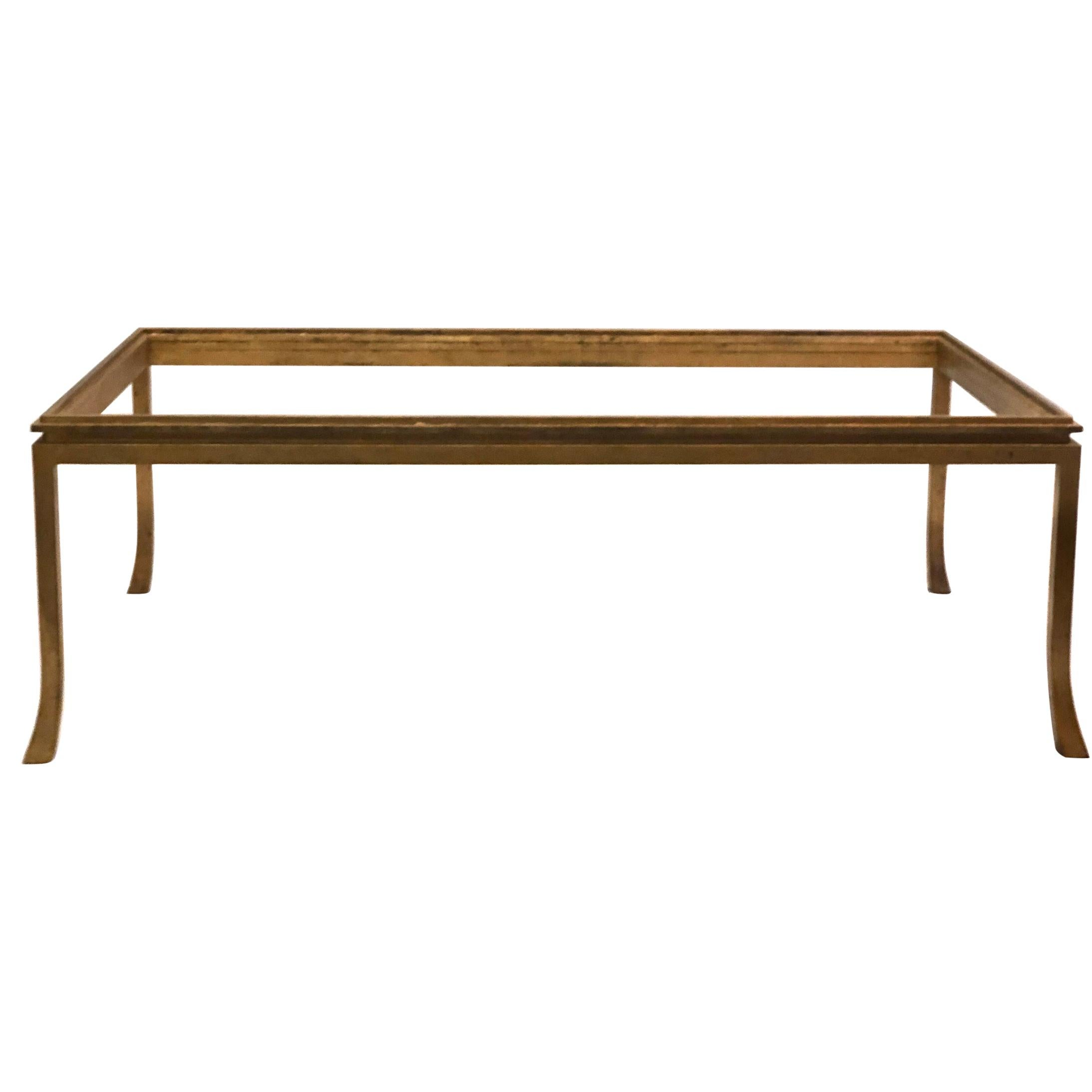 French Mid-Century Modern Gilt Wrought Iron Coffee Table by Maison Ramsay, 1970