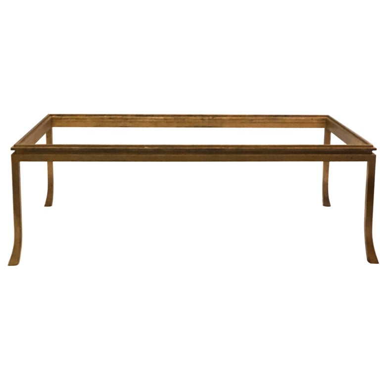 French Mid-Century Modern Gilt Wrought Iron Coffee Table by Maison Ramsay, 1970 For Sale