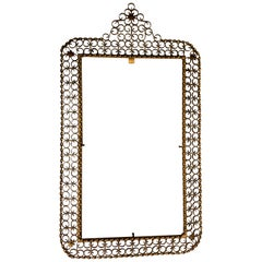 French Mid-Century Modern Gilt Wrought Iron Filagree Mirror by Maison Jansen