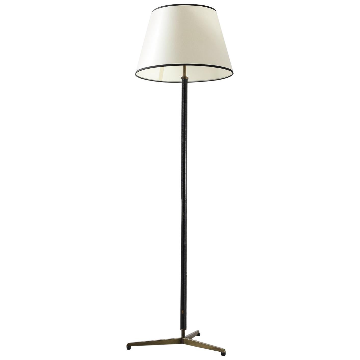 French Mid-Century Modern Hand Stitched Leather & Brass Floor Lamp Jacques Adnet