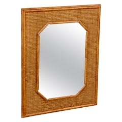 French Mid-Century Modern Handcrafted Bamboo and Rattan Mirror, circa 1960