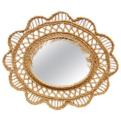 French Mid-Century Modern Handcrafted Rattan Wall Mirror, circa 1960