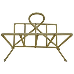 French Midcentury Modern Iron and Woven Rope Magazine Stand