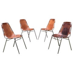 """French Mid-Century Modern Leather Chairs """"Les Arcs"""" by Charlotte Perriand, 1970s"""