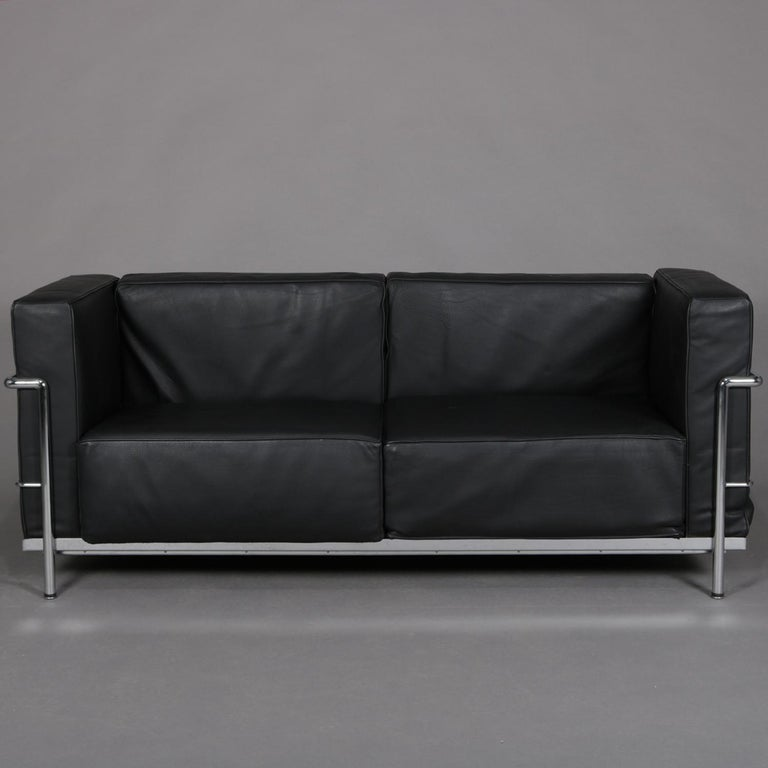 Fantastic French Mid Century Modern Leather And Chrome Cube Sofa By Le Inzonedesignstudio Interior Chair Design Inzonedesignstudiocom