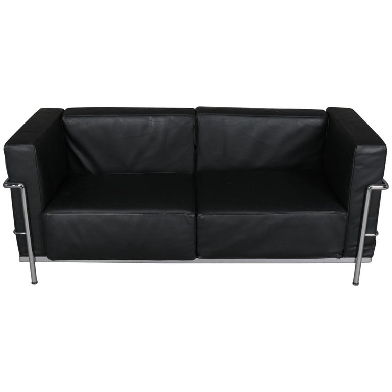 Mid Century Modern Leather Sofa: French Mid-Century Modern Leather And Chrome Cube Sofa By